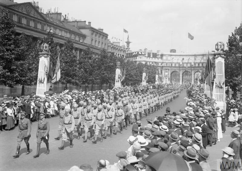 Indian Contingent (Sikhs) passing along the Mall. Photo credit:  © IWM (Q 14954)
